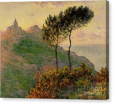 The Church At Varengeville Against The Sunlight Canvas Print by Claude Monet