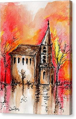 The Church By The River Canvas Print