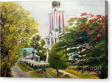 Canvas Print featuring the painting The Church In My Village by Jason Sentuf