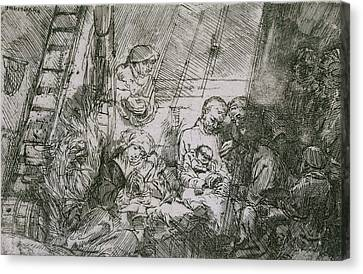 The Circumcision In The Stable Canvas Print by Rembrandt