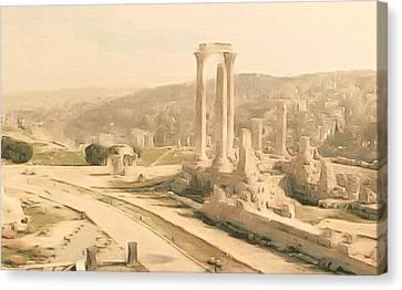The Citadel At Amman Canvas Print by Susan Maxwell Schmidt