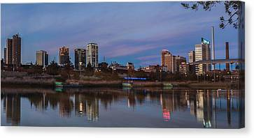 The City At Sunset Canvas Print by Phillip Burrow