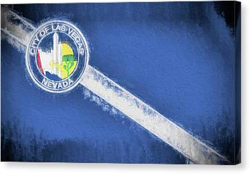 Canvas Print featuring the digital art The City Flag Of Las Vegas by JC Findley