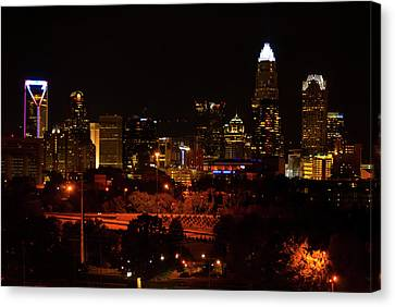 Canvas Print featuring the digital art The City Of Charlotte Nc At Night by Chris Flees