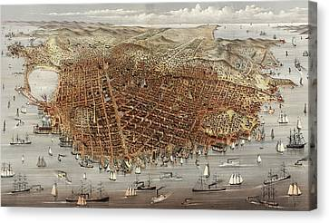 The City Of San Francisco  Birds Eye View From The Bay Canvas Print