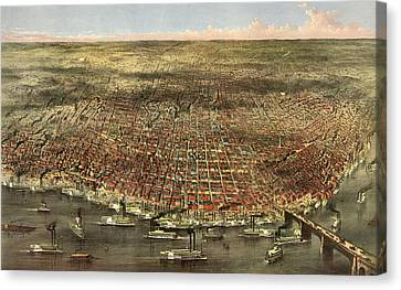 The City Of St. Louis, Circa 1874 Canvas Print by Currier and Ives