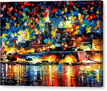 The City Of Valetta - Malta Canvas Print by Leonid Afremov