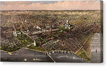The City Of Washington Birds Eye View From The Potomac, Looking North, Circa 1880 Canvas Print