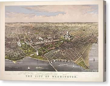 City Of Bridges Canvas Print - The City Of Washington by Charles Richard Parsons