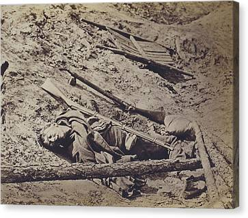The Civil War, Dead Confederate Soldier Canvas Print by Everett