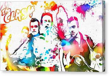 The Clash Paint Splatter Canvas Print by Dan Sproul
