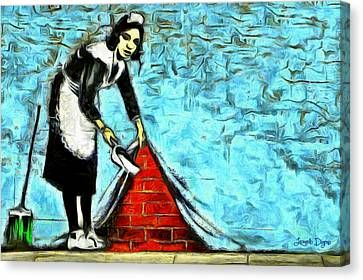 Maid Canvas Print - The Cleaner And The Wall - Da by Leonardo Digenio