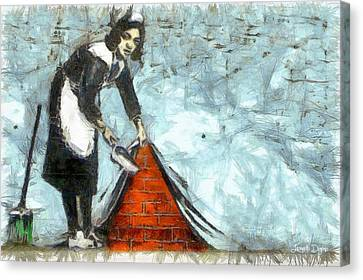 Workers Canvas Print - The Cleaner - Da by Leonardo Digenio