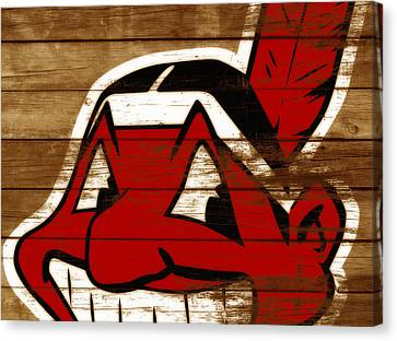 The Cleveland Indians 3b    Canvas Print by Brian Reaves