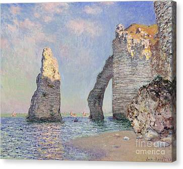 Beach Canvas Print - The Cliffs At Etretat by Claude Monet