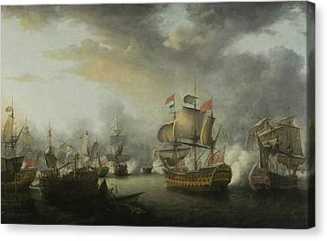 The Close Of The Battle Of The Saints Canvas Print by Nicholas Pocock