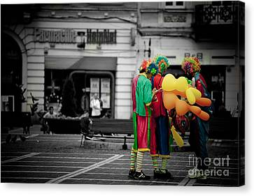 The Clown's Conspiracy Canvas Print by Gabriela Insuratelu