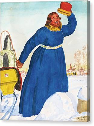 The Coachman Canvas Print by Mikhailovich Kustodiev