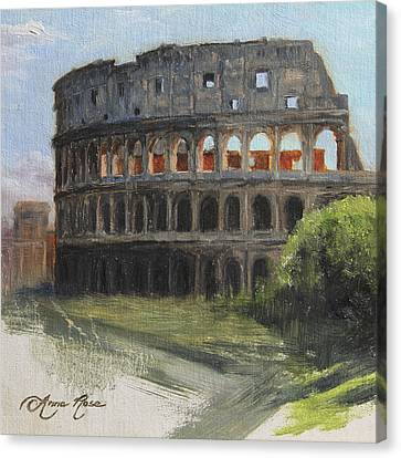 The Coliseum Rome Canvas Print by Anna Rose Bain