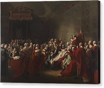 The Collapse Of The Earl Of Chatham In The House Canvas Print by John Singleton