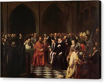 The Colloquy Of Poissy Canvas Print by Joseph-Nicolas Robert-Fleury
