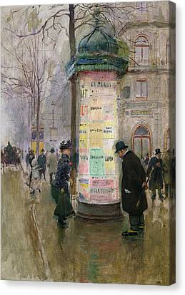 The Colonne Morris Canvas Print by Jean Beraud