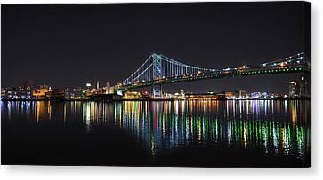The Colorful Benjamin Franklin Bridge Canvas Print by Bill Cannon
