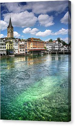 Suisse Canvas Print - The Colorful Limmat River Zurich Switzerland  by Carol Japp