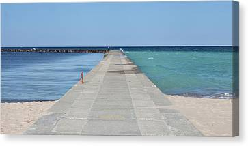 Canvas Print featuring the photograph The Colors Of Lake Michigan by Fran Riley