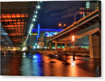 Canvas Print featuring the photograph The Colors Under The Zakim - Leonard P Zakim Bridge - Boston by Joann Vitali