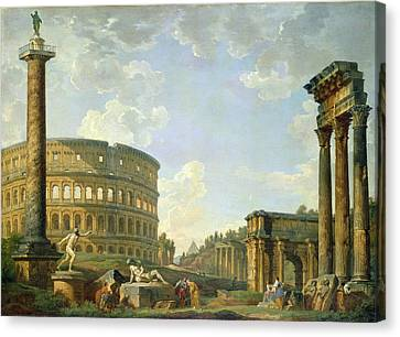 The Colosseum And Other Monuments Canvas Print by Giovanni Paolo Panini