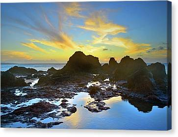 Canvas Print featuring the photograph The Colours Amongst Sea, Sky And Stone by Tara Turner