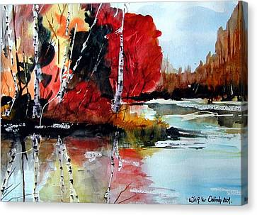 The Colours Of Autum Definitely Red Canvas Print by Wilfred McOstrich