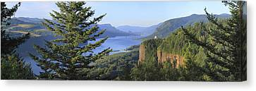 The Columbia River Gorge Vista House Panorama. Canvas Print by Gino Rigucci