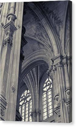 Canvas Print featuring the photograph The Columns Of Saint-eustache, Paris, France. by Richard Goodrich