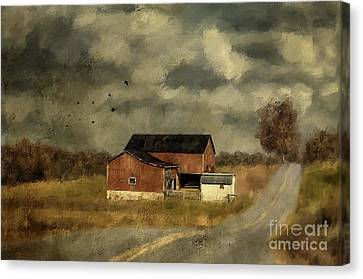 Canvas Print featuring the digital art The Coming On Of Winter by Lois Bryan