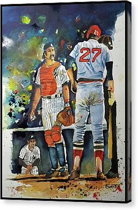 The Conflict At Home Plate Canvas Print by Fred Smith
