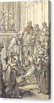 The Consecration Of Saint Juliana Falconieri Canvas Print by Pier Leone Ghezzi