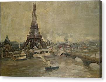 City Scenes Canvas Print - The Construction Of The Eiffel Tower by Paul Louis Delance