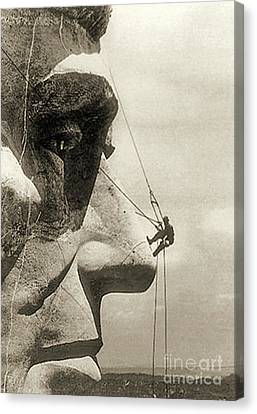 The Construction Of The Mount Rushmore National Memorial, Detail Of Abraham Lincoln,1928  Canvas Print by American School