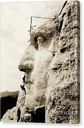 The Construction Of The Mount Rushmore National Memorial, Detail Of George Washington Canvas Print by American School