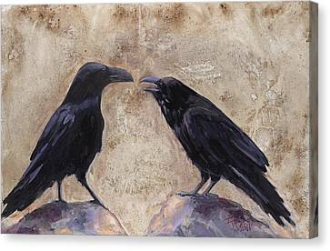 The Conversation Canvas Print by Billie Colson