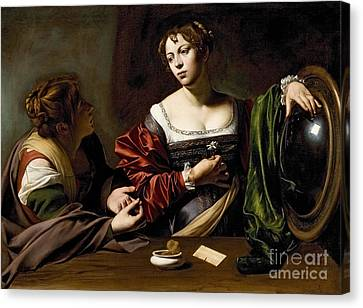 The Conversion Of The Magdalene Canvas Print by Michelangelo Merisi da Caravaggio