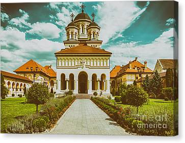 Medieval Temple Canvas Print - The Coronation Cathedral In Alba Iulia, Romania by Radu Bercan