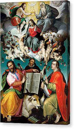 Saint Luke The Evangelist Canvas Print - The Coronation Of The Virgin With Saints Luke Dominic And John The Evangelist  by Mountain Dreams