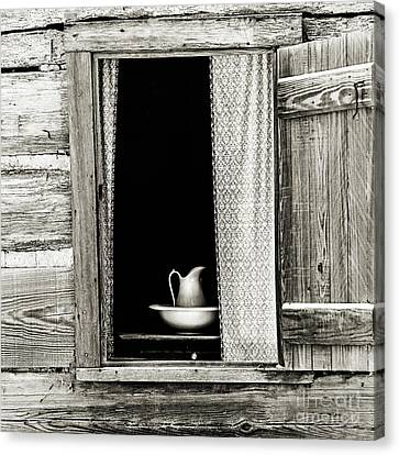 The Cottage Window - Sepia Canvas Print
