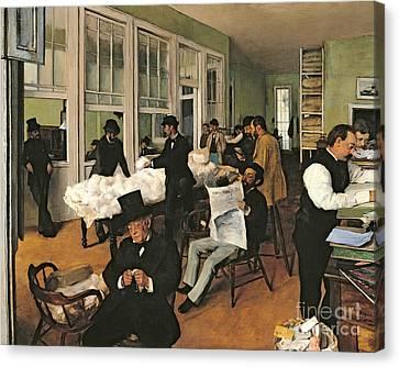 The Cotton Exchange Canvas Print by Edgar Degas