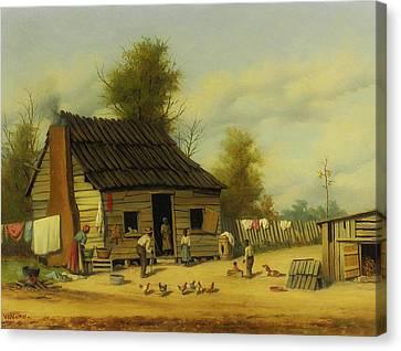 Cotton Farm Canvas Print - The Cotton Pickers Cabin by Mountain Dreams