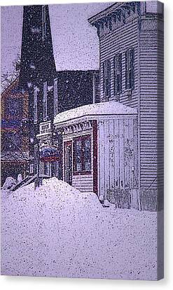 The Country Store Amidst The Snow  Canvas Print by Nancy Griswold