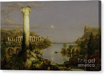 The Course Of Empire - Desolation Canvas Print by Thomas Cole